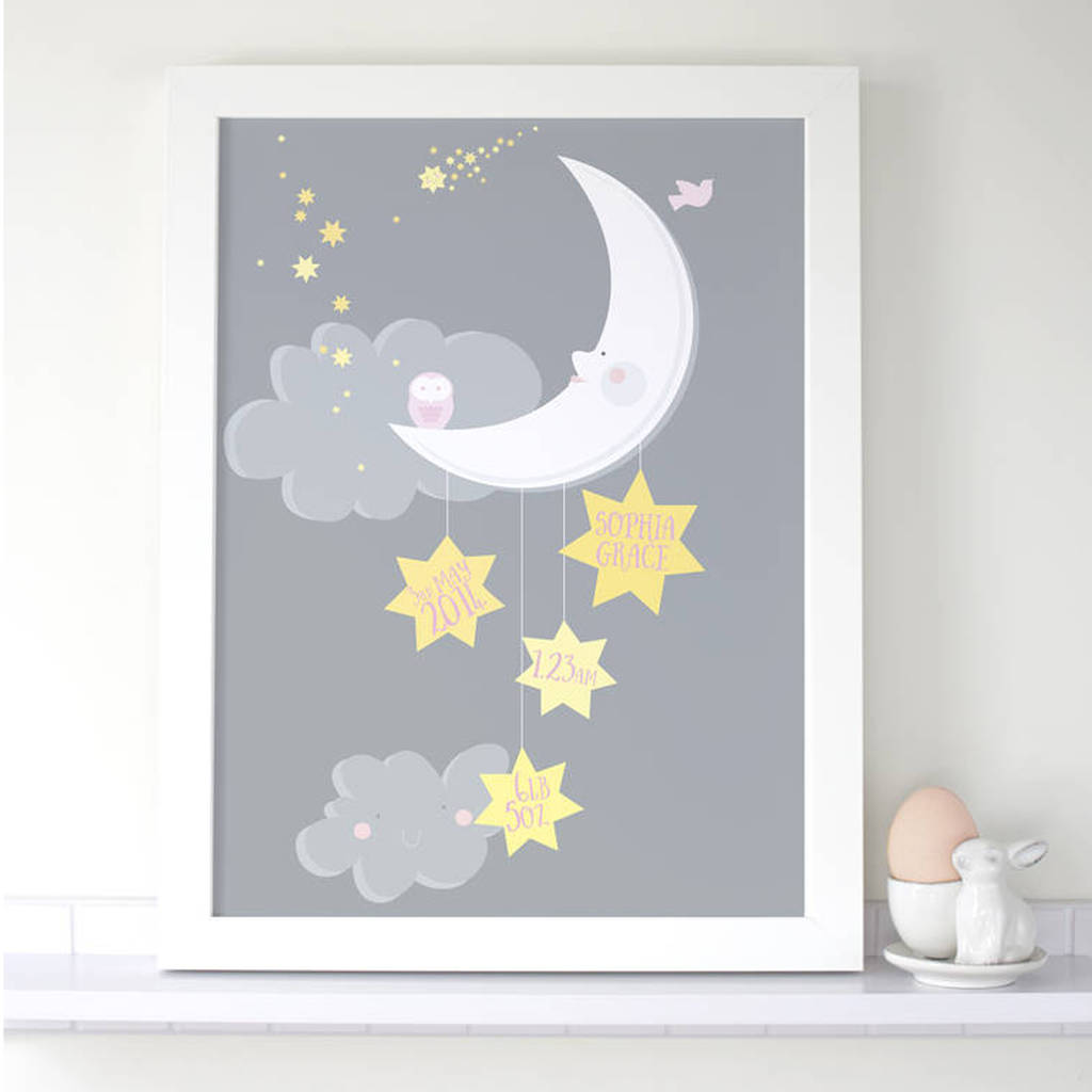 Personalised Baby Girl Moon And Stars Print By The Bonny