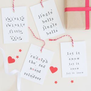 Festive Songs Christmas Gift Tag Pack - ribbon & wrap