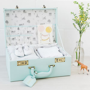 Personalised Memory Suitcase Keepsake Box Gift Set - new baby gifts