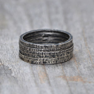 Oxidised Textured Silver Ring Stackable - women's jewellery