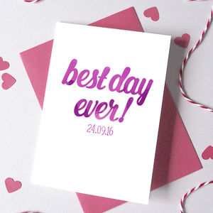 Personalised Best Day Ever Typography Card - summer sale