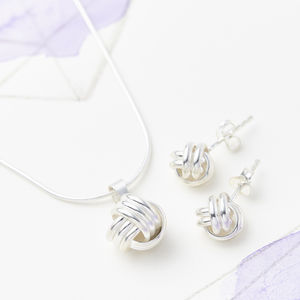 Friendship Knot Loyalty Necklace And Earring Set - winter sale