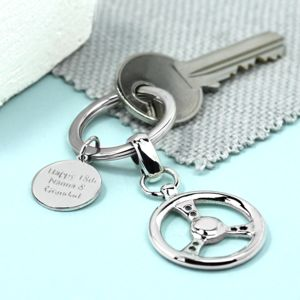 Silver Steering Wheel Key Ring - gifts for him