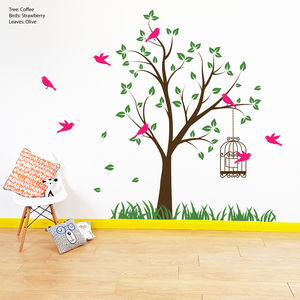Tree With Bird Cage Wall Stickers - home accessories