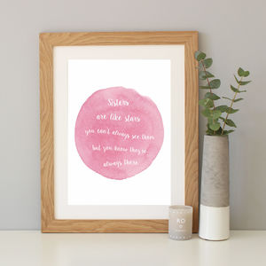 'Sisters Are Like Stars' Watercolour Print Gift - typography