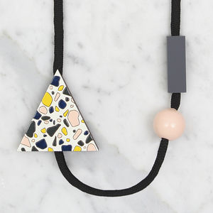 Wooden Terrazzo Pattern Triangle Necklace // Day