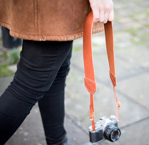 Personalised Retro Leather Camera Strap - gifts for travel-lovers