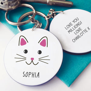 Personalised Cute Cat Face Keyring