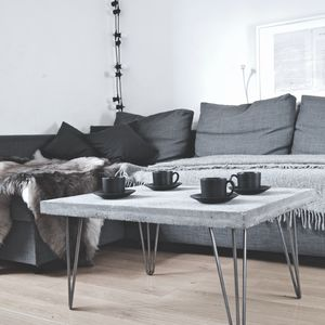 Concrete Coffee Table With Steel Legs - furniture
