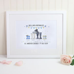 Personalised Wedding Welly Boot Print - 1st anniversary: paper