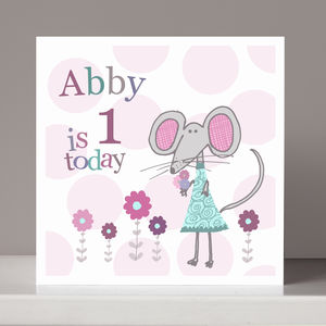 Personalised Mouse Girl's Birthday Card - birthday cards