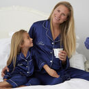 Navy Satin Embroidered Personalised Mummy Daughter Pj