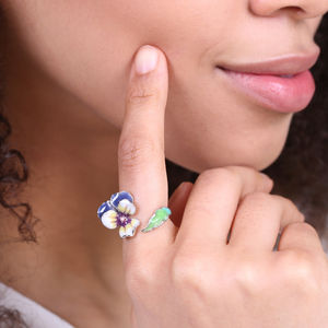 Adjustable Pansy Flower Ring In Silver