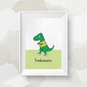 Personalised Green Dinosaur Print - baby & child
