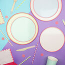 Pastel And Neon Edge Party Plates