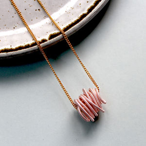 Pink Coiled Wire Neptune Necklace