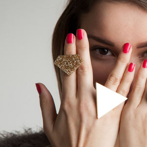 Two Geometric Costume Rings - rings