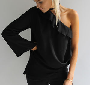 Black One Sleeve Top - tops & t-shirts