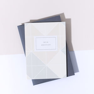 'Bon Anniversaire' Beige Grid Card, Smoke Envelope - shop by category
