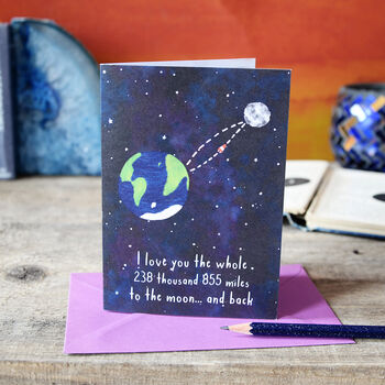 Moon And Back Astronomy Greeting Card