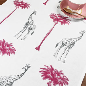 Tropical Giraffes Tea Towel - kitchen linen