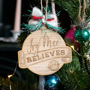 Personalised Children's Believe Christmas Ornament