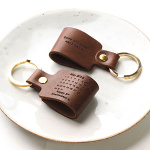 Personalised Third Wedding Anniversary Leather Keyring - 3rd anniversary: leather
