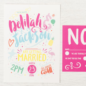 'Rainbows And Unicorns' Wedding Invitation - wedding stationery