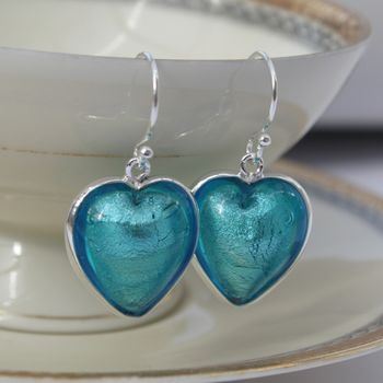 Heart Earrings In Silver And Murano Glass - Aqua Blue