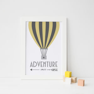 Adventure Awaits Balloon Print - pictures & prints for children