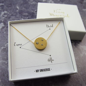 Personalised Gold Crystal Family Constellation Necklace