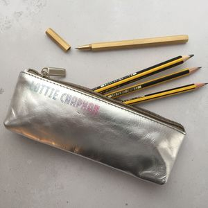 Personalised Pencil Case Silver / Gold Leather