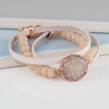 **Leather And Pink Stone Bracelet