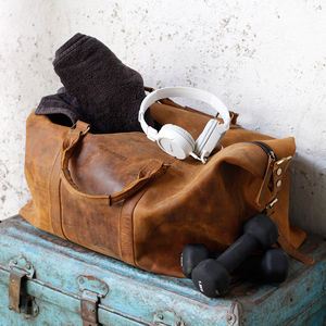 Leather Duffle Gym Bag - more