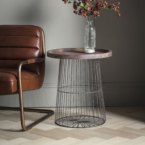 Wood And Metal Wire Circular Side Table - living room