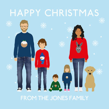 Bespoke Family Christmas Cards Pack 'Snowflakes'