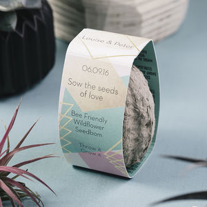 Geo Wedding Favour Personalised Seedbom X 50 - gardening