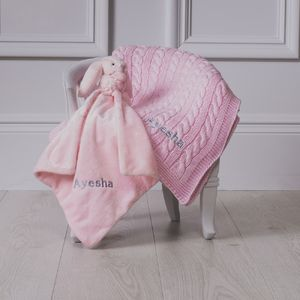 Personalised Cable Baby Blanket And Comforter Gift Set - gift sets