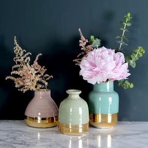 Pastel Lustre Vases, Set Of Three