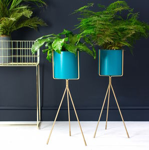 Teal And Gold Tall Plant Stand - pots & planters