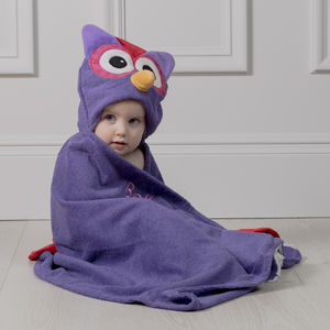 Personalised Olive The Owl Hooded Towel