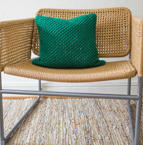 Hand Knit Pebble Stitch Cushion In Emerald
