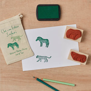 Safari Rubber Stamp Set Leopard And Zebra - ribbon & wrap