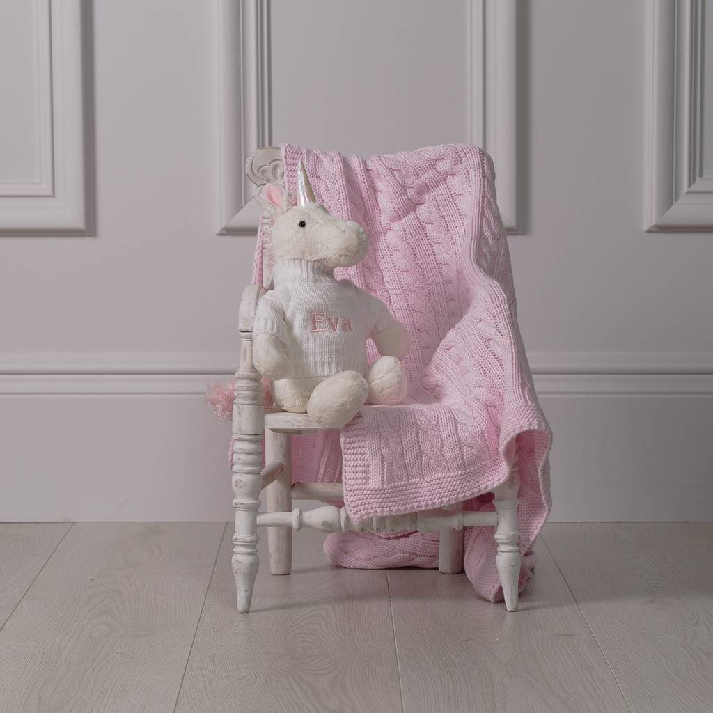 Knitting Pattern For Unicorn Blanket : personalised knitted baby blanket and bashful unicorn by ...