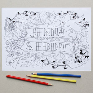 Personalised Mr And Mrs Wedding Colouring In Page - for children