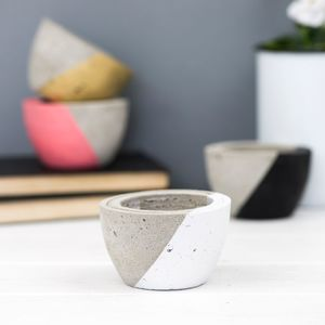 Diagonal Colour Mini Concrete Planter - gifts for her