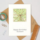 Personalised Map Location Square Birthday Card