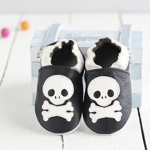 Skull And Cross Bones Soft Leather Baby Shoes - socks, tights & booties