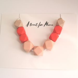 Coral And Pink Geometric Teething Necklace