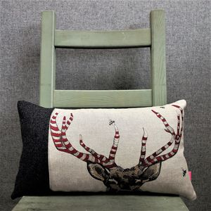 Stripey Stag Tweed And Linen Cushion